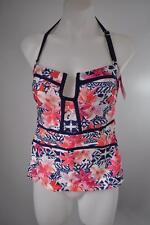 Island Escape Antigua Bandini Halter Tankini Swim Top Pink Navy Floral Size 8