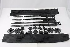 Four Trekking Walking Hiking Sticks Poles Alpenstock anti-shock Snowshoe Black