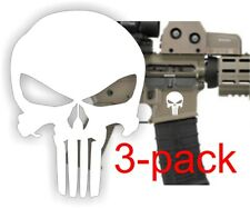 3x Lower Punisher Skull Decals 556 Stickers 2nd Amendment Usa White