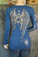 NEW WOMEN AFFLICTION LIVE FAST WORLD TOUR LONG SLEEVE SHIRT SIZE M