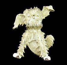 "TERRIER PUP PIN Vintage Brooch HEAD TILT Fluffy Floppy Ears Goldtone Dog 1 5/8"""