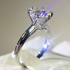 1.5 Carat 7.5mm Round Brilliant Cut Moissanite Engagement Ring Classic 6 Prong