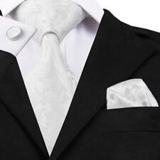 Classic Blue Rose Mens Tie Paisley Stripe Silk Necktie Set Jacquard Woven Gift