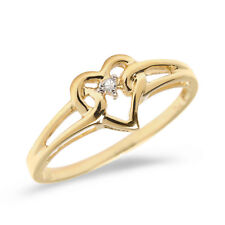 10K Yellow Gold Diamond Heart Ring (Size 9.5)