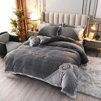 Luxury Velvet Flannel Bedding Set Warm Fleece Embroidery Duvet Cover Bed Sheet