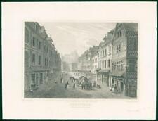 1822 Original Antique Print -FRANCE View of ABBEVILLE Rue Du Puit Chaine   (57)