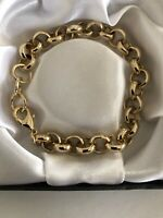 "9ct Gold gf Belcher Bracelet Chain 10mm x 8 "" Inch FREE Luxury Gift Box"