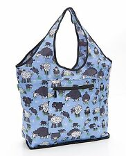 Expandable Weekend Bag by Eco Chic slips over suitcase handle - sheep print