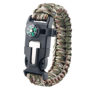 Useful Flint Starter Outdoor Adventure First Aid Paracord Survival Bracelet