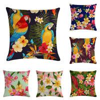 "18x18"" Tropical Plant Parrot Cotton Linen Throw Pillow Case Cushion Cover Decor"