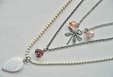 Beads, Pearls Flower - New Accessorize Silver 3 Row Necklace_Small Dragonfly,