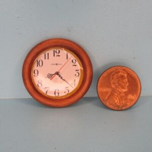 Dollhouse Miniature Simple Wood Wall Clock in Brown Round G7991