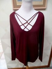 d6f900ae ROCK & REPUBLIC-FIG-BURDGUNDY-STRAPPY NECK -LONG SLEEVE-TOP-