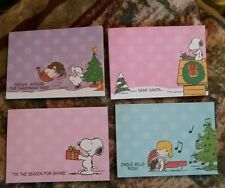 PEANUTS SNOOPY Christmas POST IT NOTE PADS SET OF 4 DIFFERENT ONES NEW