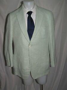 Paul Stuart Stuart III Silk Lime Green Herringbone Two Button Blazer 42L NWT