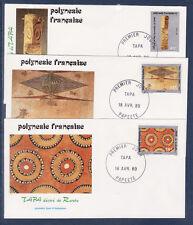 Polynésie   enveloppe  1er jour  art  polynésien  TAPA  1989