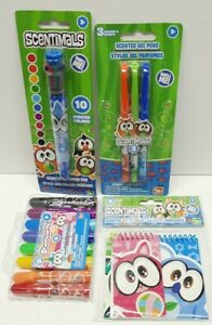 Scentimals Scented Gel Pens + Markers + Large pen + notebooks Green Lot