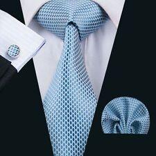 SN-1535 Hot Silk Men's Necktie Set Blue Novelty For Wedding Party Groom Business
