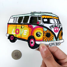 Hippie Love Bus Peace Coloured Car Sew Iron on Patch Badge Embroidery Applique