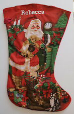 BNWT Large Size Christmas Stocking Santa Print Fleece Personalised 67 cm