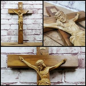 Large Hand Carved Wood Wooden Crucifix Cross Religion Christ Jesus Christianity