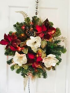 24in Multicolor Lighted Christmas Wreath White Red poinsettias Pinecones