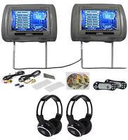 "Rockville RTSVD961-GR 9"" Gray Touchscreen DVD/HDMI Headrest Monitors+Headphones"