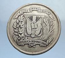 1937 DOMINICAN REPUBLIC Silver Liberty LIBERTO Arms Antique Silver Coin i69899