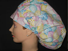 Surgical Scrub Hats/Caps Easter Eggs pastel designs on white