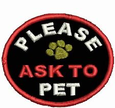 Ask To Pet Patch Service Dog Patch Round Dog Vest Patch Black Circle