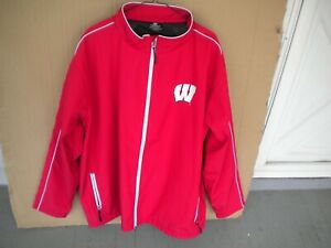 Wisconsin Badgers Men's Colosseum Red & White Zip-Up Jacket 100% Polyester 3XLT