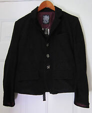 h.NAOTO Heaven Black Lace Jacket Purple Lining Skull Buttons New