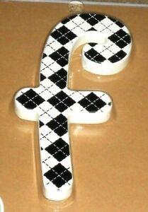 "KidKraft Wooden modern pattern Letter F is approximately 6"" black & White Plaid"