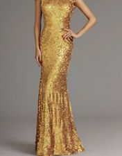 Gold sequin long Christmas Ball gown floral party prom dress