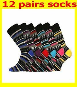12 pairs Mens Cotton Rich Dress  Multi Stripe Socks work men gents size 6-11