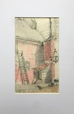 Stable Yard Leatherhead Surrey 1907 Original Antique Sketch Painting Drawing