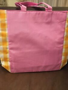 Clinique Lined Canvas Pink/Yellow Handbag Tote New