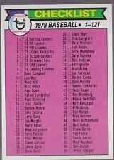1979 TOPPS BASEBALL CHECKLIST #121 UNMARKED NRMT/NMMT *53655