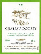 Ancienne Etiquette de vin-Bordeaux(1988)-Entre-2-Mers-Château Dolibey -N°463