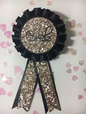 Bride Rosette GOLD Glitter on Black Satin Ribbon