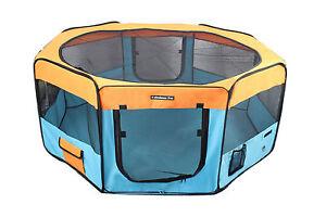 "45"" Portable Puppy Pet Dog Soft Tent Playpen Folding Crate Pen New - Blue/Orange"