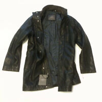 Cole Haan Men Size S Black Leather Jacket Knee Long Insulated