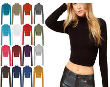 New Womens Ladies Long Sleeve Plain Polo High Neck Turtle T-Shirt Crop Top Vest
