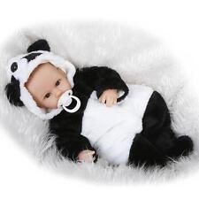 18'' Reborn Handmade Baby Girl Doll Silicone Vinyl Lifelike Dolls +Panda Clothes