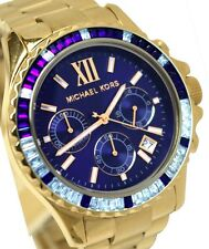 NUOVA Michael Kors Everest Gold Tone Glitz Blu Navy Cronografo Ladies Watch MK5754