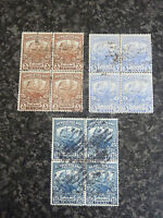 NEWFOUNDLAND POSTAGE STAMPS SG132,134 &139 BLOCKS OF 4 GOOD USED/FINE USED