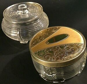 ANTIQUE GLASS POWDER JARS ART DECO STYLE GOLD ETCHED LID LOT OF 2