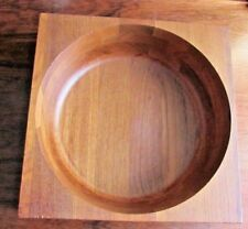 Mcm Brostrom Teak Wood Square Round Salad Serving Bowl Unique Denmark