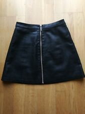 c72d71c9bf965c COOPERATIVE PU Faux Leather A Line Skirt Front Zipper Black Size S 8