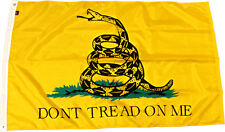 Yellow Gadsden Dont Tread on Me Flag with pin Double Sided Polyester 3 x 5 Foot